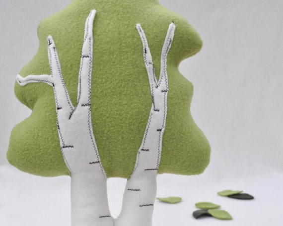 Birch Tree, plushie in white and spring green
