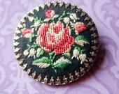 Floral Embroidered Brooch - Vintage 1960s