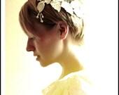 Grecian pearls lace laurel leaf bridal headpiece