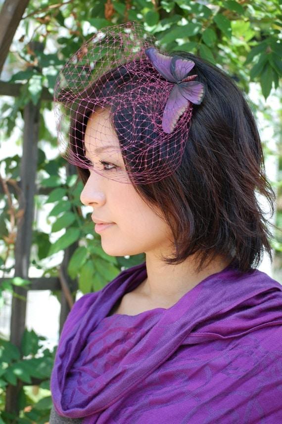 Birdcage veil Purple butterfly