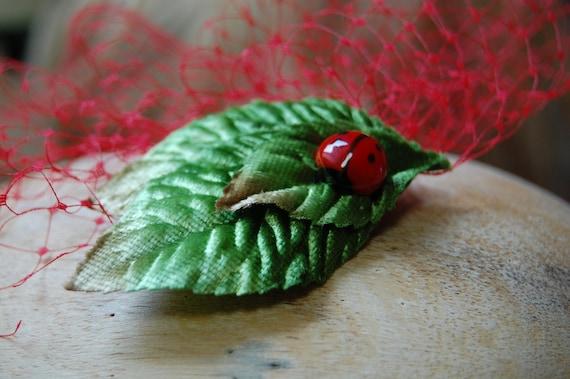 Ladybug red birdcage veil