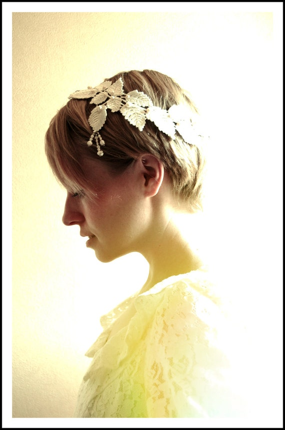 Grecian pearls lace laurel leaf bridal headpiece