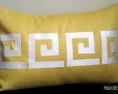 Greek Key Linen and Ivory silk- Pillow Cover