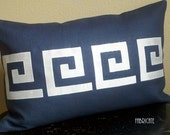 Greek Key- Linen and Ivory silk- Pillow Cover 12X18