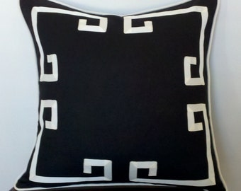 Greek Key Aegean Fretwork Black and Off White- Pillow Cover- Made To Order