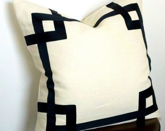 Greek Key Fretwork Ivory Linen with Black- Pillow Covers- Choose your size