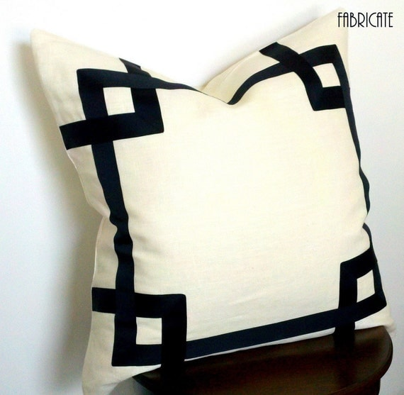 "Greek Key Fretwork Ivory Linen with Black- 20"" Pillow Cover"