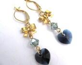Heart and Bow Earrings, Dark Blue Crystal Heart Dangle Earrings, Swarovski Elements Crystal Heart Earrings, Midnight Blue Heart Jewelry