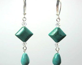 Turquoise Teardrop Earrings, Turquoise Geometric Earrings, Blue Green Turquoise Jewelry