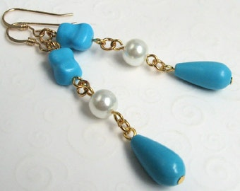 Blue Turquoise Earrings, Turquoise Teardrop Dangle Earrings, December Birthstone