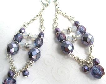 Beaded Chandelier Earrings, Czech Beads Purple and Lilac, Chain Chandelier Earrings, Funky Earrings, Fancy Party Earrings