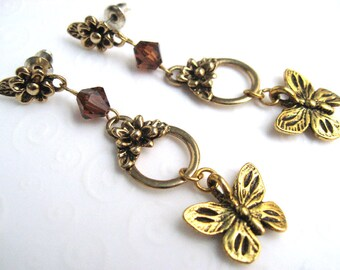 Antique Gold Butterfly Earrings, Butterfly Charm Dangle Earrings, Brown and Gold Vintage Style Earrings