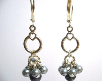 Pearl and Bead Cluster Earrings in Blue Gray, Glass Beads and Pearl Cluster Dangle Earrings