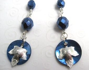 Maple Leaf Earrings in Blue and Silver, Dark Blue Shell Earrings, Mussel Shell Jewelry, Autumn Leaves Earrings, Fashion Earrings