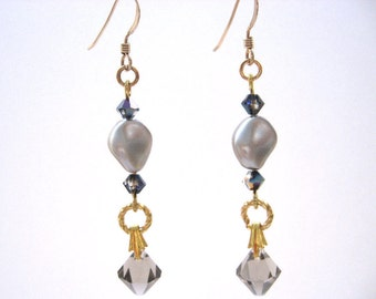 Beige and Gold Earrings, Greige Crystal and Platinum Pearl Earrings with Gold Filled Earwires, Drop Earrings