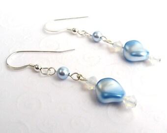 Light Blue Pearl Drop Earrings, Swarovski Crystal and Pearl Dangle Earrings, Sky Blue Wavy Pearl Earrings, Faux Pearl Jewelry