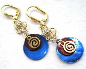 Blue and Brown Shell Earrings, Gold Swirl Earrings, Cute Colorful Earrings, Boho Jewelry, Fashion Earrings, Mussel Shell Jewelry