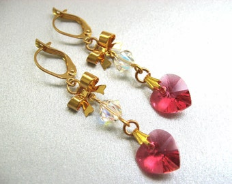 Dark Pink Heart Earrings with Bows, Crystal Swarovski Elements Heart Jewelry, Watermelon Pink and Gold Tone, Pink Heart Jewelry