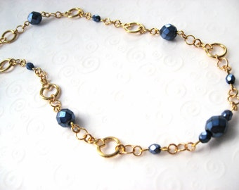 Dark Blue Necklace, Czech Bead Necklace, Dark Blue and Gold Tone Single Strand Beaded Necklace