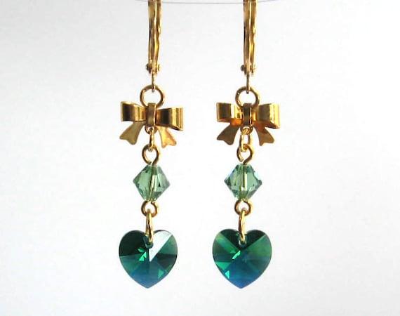Green Heart Earrings, Emerald Green Crystal Earrings, Swarovski Crystal Hearts and Bows Fashion Earrings, Bow Earrings, May Birthstone
