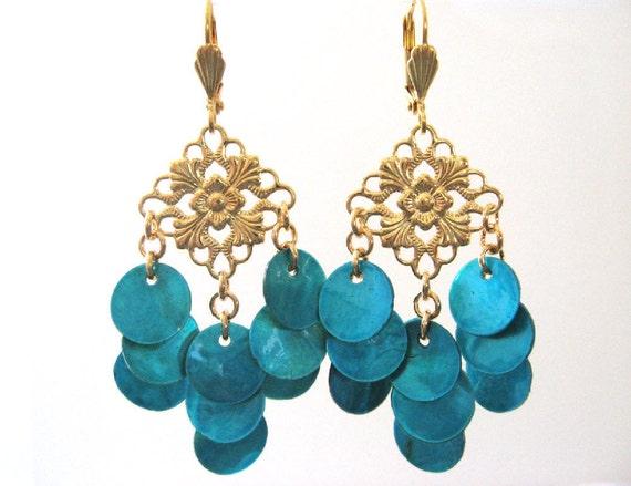 Chandelier Earrings, Teal and Gold Filigree Chandelier Earrings, Gold and Teal Earrings, Party Earrings, Women's Jewelry