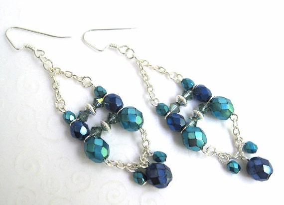 Boho Chandelier Earrings Dark Blue and Aqua Beaded Dangling – Aqua Chandelier Earrings