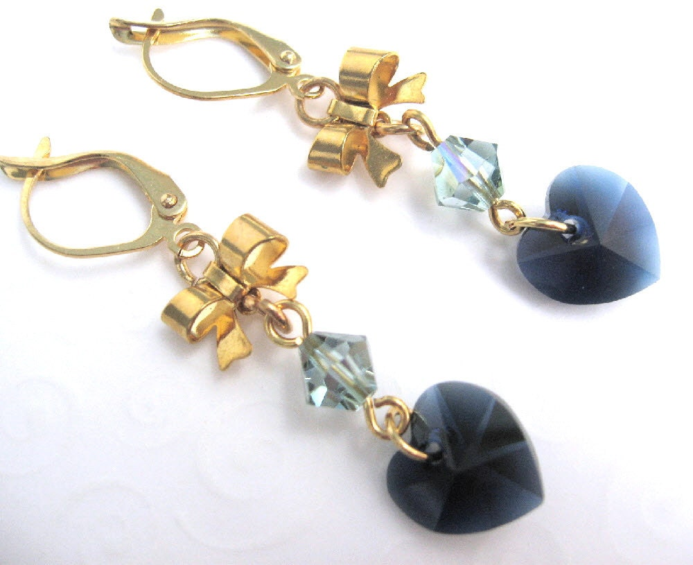 Heart and Bow Earrings Dark Blue Crystal Heart by ...