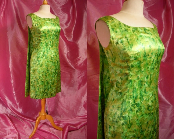 Vintage 1960s Mad Men Bombshell Wiggle Party Dress - 60s Atomic Print Satin - Dramatic Back Drape - For Size Med Cocktail Cuties
