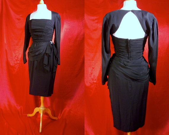 Vintage Bombshell Wiggle Party Dress - Noir Boned Draped Vamp 80s Does 40s by Miss Ashlee - Rhinestones - For Size Medium Daring Dames