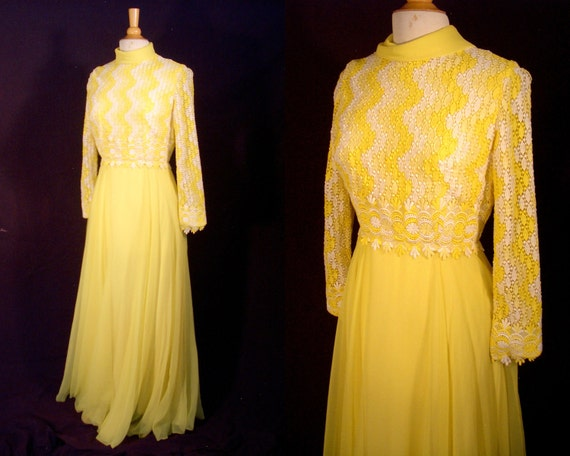 """Vintage Party Dress - 1970s Lace & Chiffon Full Skirt Formal Maxi Prom Gown by Gano-Downs - Sweeps to 460"""" -  For Size Medium Elegant Angel"""