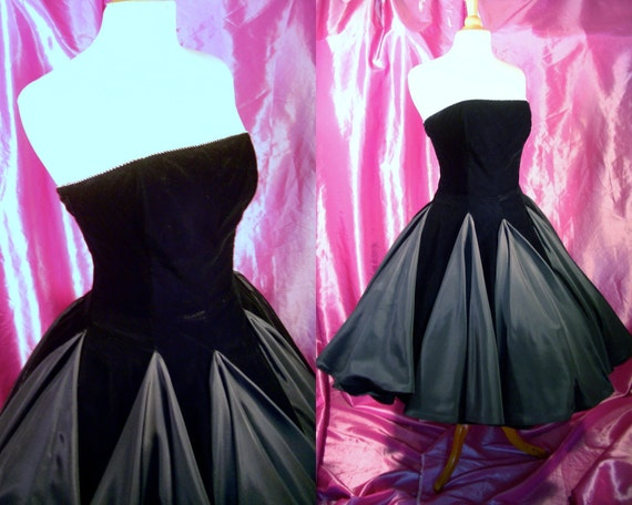 """Vintage Strapless Prom Party Dress - Starburst Circle Skirt Sweeps to 610"""" - 80s 1950s Revival by Pantagis - For Size Med Rat Pack Pretties"""