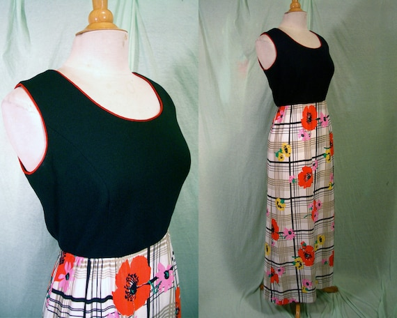 Vintage 70s Dress - 1970s R&K Knits Maxi Dress - Burberry Plaid and Bright Poppies Print - For Size L - Xl Hip Honies