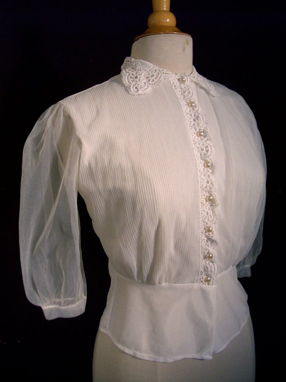 RESERVED FOR ARTPROVENANCE - Vintage Blouse - 1940s Sheer Puff Sleeve - Pearl Buttons and Lace - For Size Small to Medium Blitz Babes
