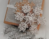 Quilled snowflake Christmas ornament - white with glitter snow- with decorated box