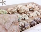 Vintage paper flowers - 48 flowers in 3 boxes