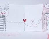 Valentine cards hand drawn OOAK - 4 in set