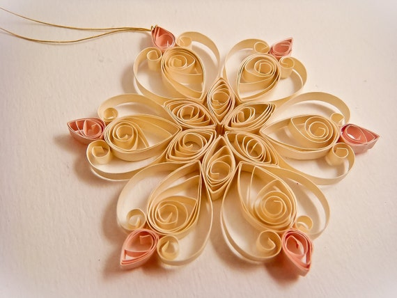 Quilled snowflake Christmas ornament - pearly cream with pearly pink- with decorated green gift box