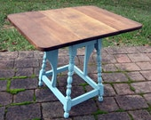 Turquoise Drop Leaf Table