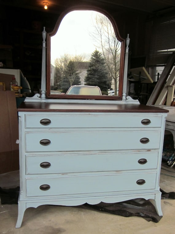 Blue Gray Federal Dresser W Mirror Reserved For By Suezcues