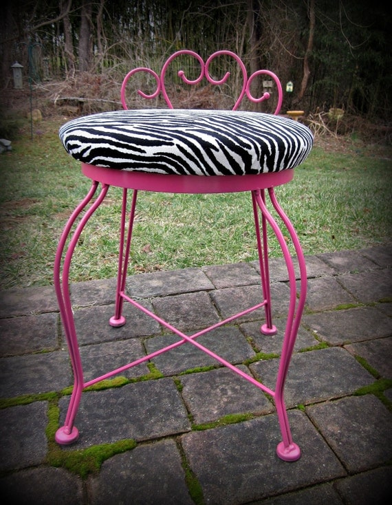Hot Pink And Zebra Print Ice Cream Parlor Chair By Suezcues