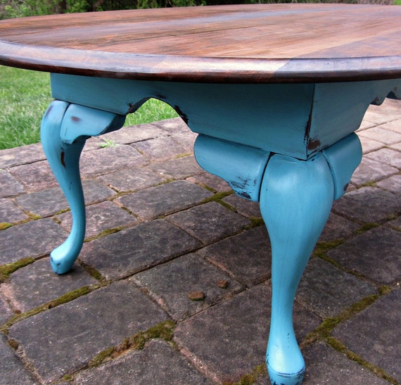 Items Similar To Chippy Rustic Turquoise Table On Etsy