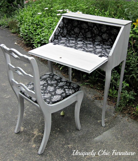 Paris Gray French Drop Front Writing Desk and Chair Reserved for Sarah Mattison