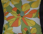 """16"""" x 16"""" Marimekko Cushion Cover with Yellow, Green, Orange and Blue Floral Printed Contemporary Design"""