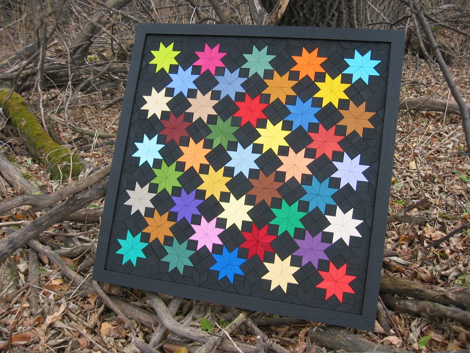 Field of Stars Wooden Quilt by PrairieWood on Etsy
