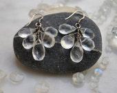 MOONSTONE TEARDROPS: Dangle Earrings- large faceted briolette gemstones