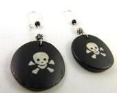 SALE - 25% off - Black Pirate Jolly Roger Bone Earrings