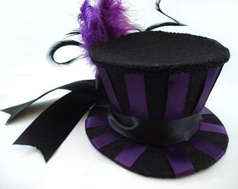 Purple Stripe Mini Top Hat - Burlesque Mini Top Hat Satin Striped Top Hat Gothic Wedding Purple Mini Top Hat Made to Order