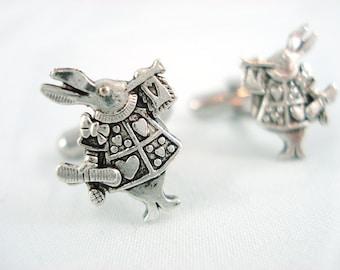 The White Rabbit - Alice in Wonderland Silver Cuff Links - Wonderland Cufflinks White Rabbit Cufflinks Groomsmen Gift Wonderland Wedding