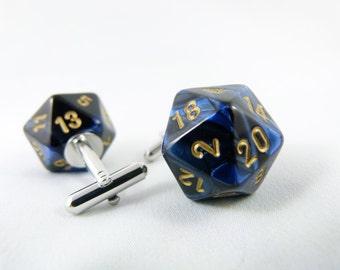 Gemini Metallic Blue Black and Gold D20 Cuff Links Geek Cufflinks Gamer Cufflinks Nerd Cufflinks D20 Cufflinks Groomsmen Gift Geeky Wedding
