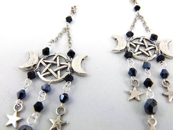 Black Pentacle Triple Moon Chandelier Earrings